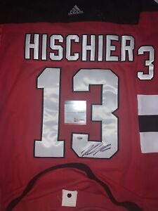 Nico Hischier New Jersey Devils Autographed Red Adidas Jersey Fight Strap!