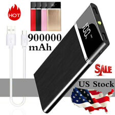 Portable Power Bank 900000mAh Ultra-thin Alloy External Battery 2 USB Charger