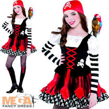 Girls Pirate Crossbone Cutie Halloween Fancy Dress Kids Costume Ages 3-11 Years