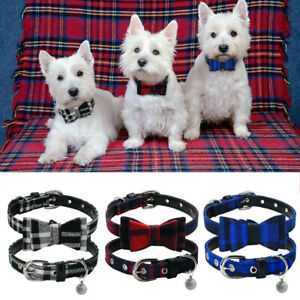 Cute Plaid Bowtie Dog Collar Soft Leather Padded for Small Pet Puppy Cat & Bell