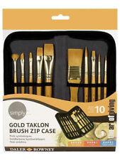 Simply Acrylic Gold Taklon Brush Zip Case 10pc The Art of Giving
