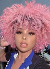 Afro Wig Kinky Curly Short Ombre Pink Hair for Black Women African American Wig