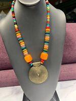 "Vintage Bright Multi Color Wood Beaded necklace bohemian  Brass Pendant 20"""