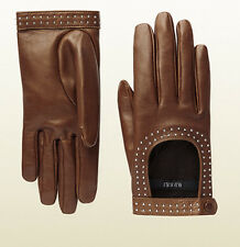 $675 GUCCI GLOVES STUDDED NUT BROWN LEATHER CUTOUT SILK LINING sz 8 / L