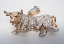 Mens 14K Two Tone Gold Bull Pendant with Genuine Diamonds and Emeralds