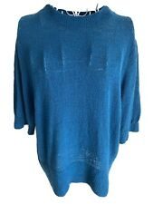 M&Co Women's Jumper Size 16 Teal Short Sleeved Crew Neck Cotton Blend Top