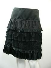 "NANETTE LEPORE Black Silk LINED w/Lace Micro Pleats Tiered Skirt Sz 2-W29"" x L21"