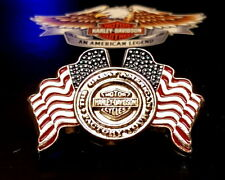HARLEY DAVIDSON USA FLAGS WITH BAR AND SHIELD VEST PIN OBSOLETE MADE IN USA