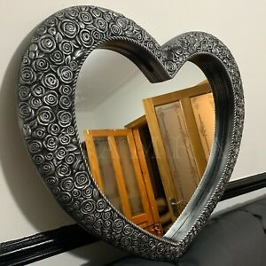 Large Silver Ornate Heart Mirror Antique Style Heart Bathroom Wall Mirror 67x58