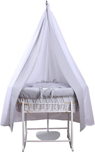 Clair de Lune, 6 Piece Grey Waffle White Wicker Moses Basket Starter Set,