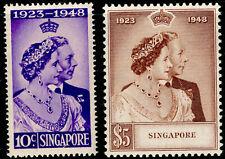 More details for singapore sg31-32, royal silver wedding set, nh mint. cat £110.