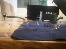 TAG HEUER Satin BLACK Rubber rimless Glasses TH 3841 001 54-18 TPD02245