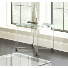 Steve Silver Talia Square Glass Top Acrylic End Table in Chrome