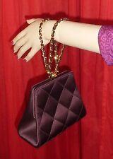 VTG Chanel Plum Satin Quilted Chain Framed Clutch Wristlet Evening Bag