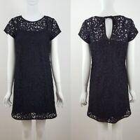Ann Taylor LOFT Crochet Lace Shift Overlay Blue Black Dress (BX V) SZ 4 P / 4P