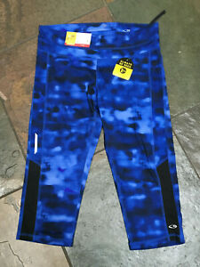 CHAMPION Med Blue Marble Fitted DuoDry Reflective Workout Yoga Pants NWT