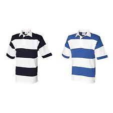 Men's Striped Short Sleeve Rugby Casual Shirts & Tops