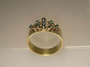 70er J. Handarbeit Ring Goldmetall hohe Solitär Krampen grün blau Turmalin 6,2 g