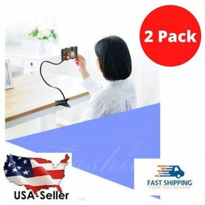 2 Flexible Lazy Bracket Cell Phone Stand Holder Car Bed Desk For iPhone Samsung