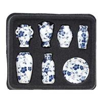 7stk/set 1:12 Puppenhaus Miniatur Keramik Vase Modell Blau Möbel Ornament Dekor