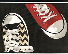 Sneakers - Running Shoes - Black & White - ONLY $10 - Wallpaper Borders YK033