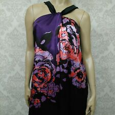 Le Chateau Satin Sleeveless Dress Size XXL Purple Floral Shift Party Cocktail
