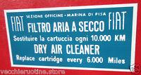 ADESIVO STICKER FILTRO ARIA MARINA DI PISA AIR FILTER FIAT 127 126 500 128 600
