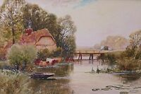 Henry John Kinnaird Landscape Watercolour Painting - The River Stour With Cattle