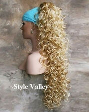 Extra Long Blonde Mix Ponytail Claw Hairpiece Extension Clip in Curly Hair Piece