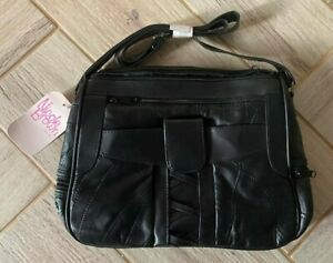 Ladies Black Faux Leather Zipped Handbag Bag - 28 x 22 x 10cms - Nicole Brown