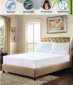 Waterproof Bamboo Terry Pile Washable Fully Fitted Mattress Protector, All Sizes
