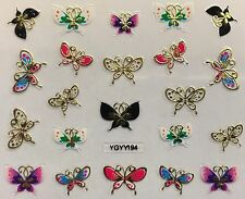 Nail Art 3D Decal Stickers Butterflies Golden Black White & Purple YGYY194