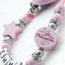 Schnullerkette mit Namen ★ Mädchen ★ Strass ★ rosa ★ Baby Geschenk Geburt Taufe