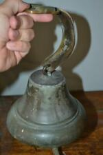 "ANTIQUE BRASS SHIP BELL Nautical With Clapper & Mount 7"" Maritime Old Vintage"