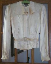 Antique/vintage satin blouse, sailor collar, fitted waist with belt