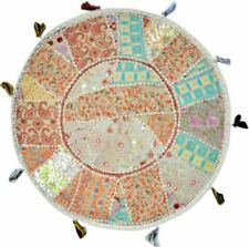 Vintage Handmade Patchwork Gypsy Ottomans Round Cushion Cover