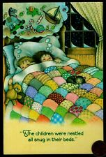 Vintage Children Sleeping Cat Toys Candy Quilt Embossed Christmas Greeting Card