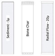 "3 Stage Big Blue Filter Kit 4.5"" x 20"" Sediment, Bone Char, Radial Flow Carbon"
