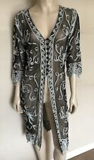 CHESCA Black Mesh White Tape Embroidered Cornelli Coat/Long Top,Size UK 12