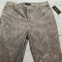 MSRP$298!! Lafayette 148 NY Size 12 Metallic Silver Textured High Rise Jeans