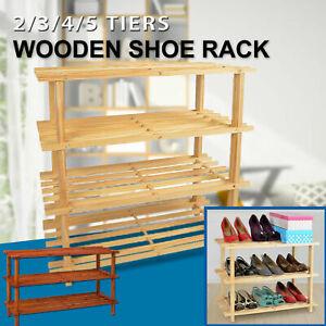 2/3/4/5 Tiers Shoe Rack Storage Wooden Organizer Shelf Shelves Stand 2-5 Tier