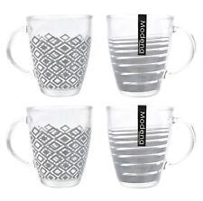 Set of 4 Coffee Mugs Tea Cups Glasses Geometric Pattern Grey Clear Glass 340ml