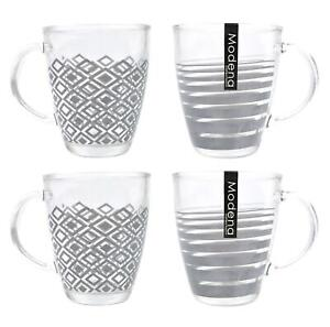 Set of 4 Coffee Mugs Tea Cups Glasses Geometric Pattern Grey Clear Glass 340ml