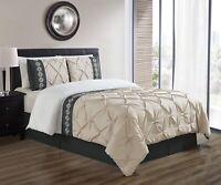 3Pc King Size Light Grey/Grey / White Double-Needle Pinch Pleat Comforter Set