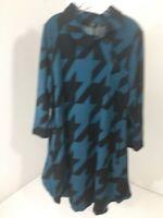 R&B COLLECTION WOMEN'S PRINT TUNIC DRESS TEAL/BLACK XL NWT