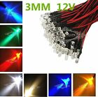 Sale Warm White/Red/Green/Blue/Yellow/UV Purple/Orange/Pink Prewired LED 3mm 12V