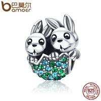 BAMOER S925 Sterling silver charm White Rabbit with crystal For Women bracelets