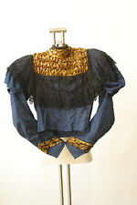 Antique Victorian Blouse Navy Gold Lace Boning