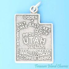 UTAH STATE MAP SALT LAKE CITY OGDEN CEDAR CITY .925 Solid Sterling Silver Charm