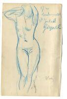 Dessin Ancien Original signé - Nue, Portrait, Personnage, Femme